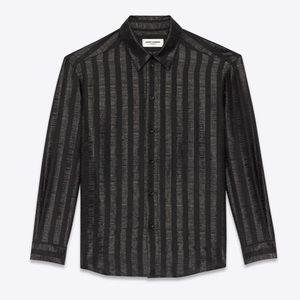 Saint Laurent Paris sheer stripe Lame blouse NWOT